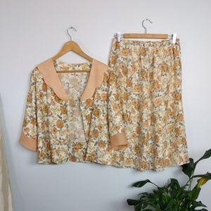 Vintage Peter Pan Collar Floral Skirt Suit Set
